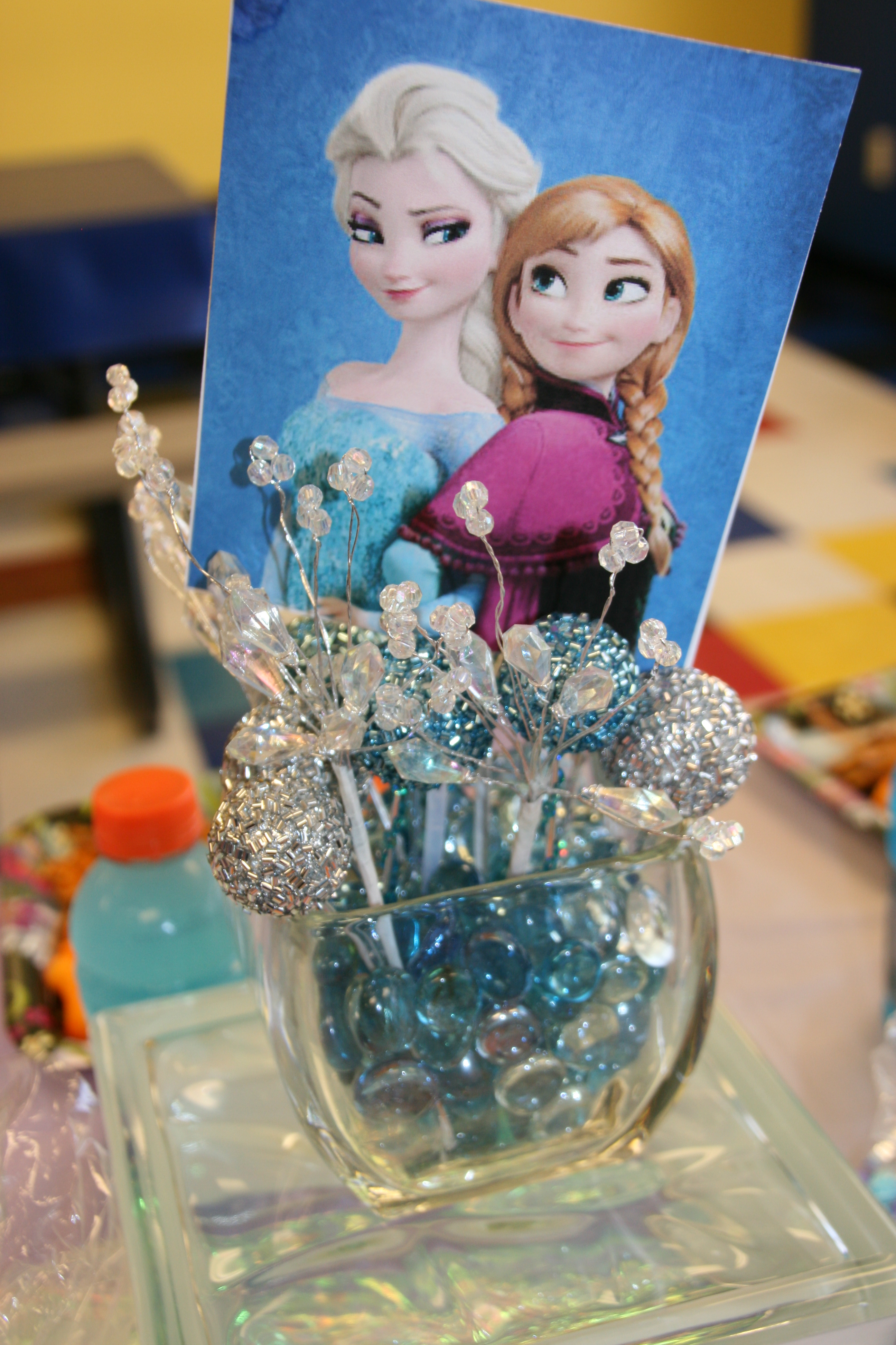 I Bought Glass Beads At Dollar Tree And Put Them In Square Vases Topped With Silver Blue Beaded Balls Picks That Looked Like Ice From Hobby Lobby